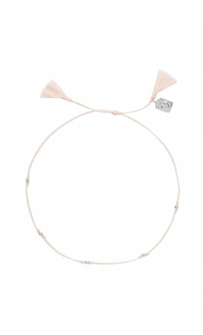 Anna + Nina Medaillon Thread Anklet Silver Dusty Pink