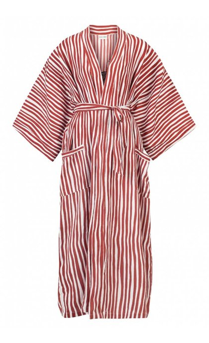 Anna + Nina Kimono Striped Ostrich Red Stone