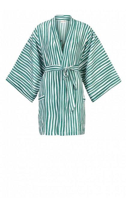 Anna + Nina Kimono Striped Leopard Sea Green