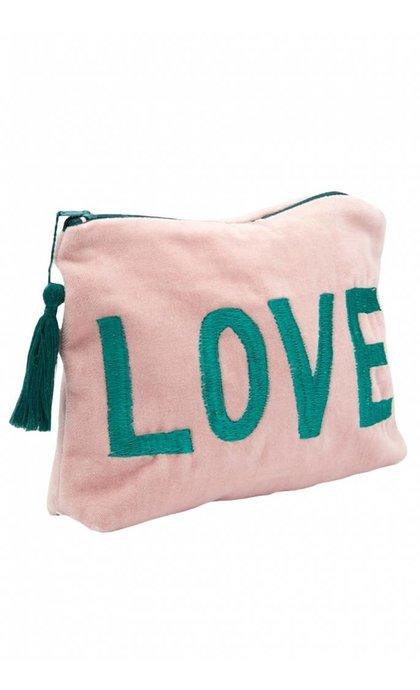 Anna + Nina Love Velvet Pouch Pink/Green