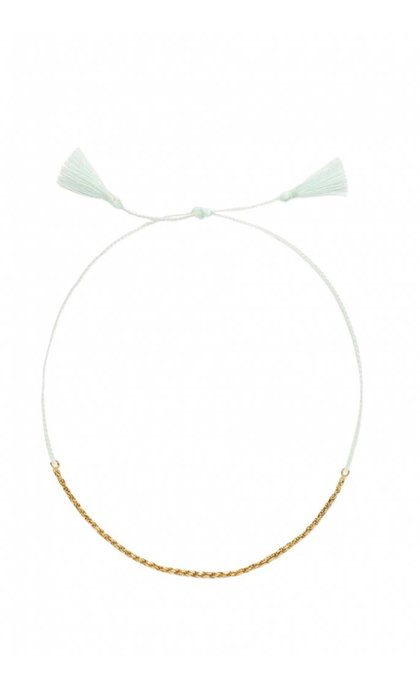 Anna + Nina Rope Thread Anklet Goldplated Blue Lagoon