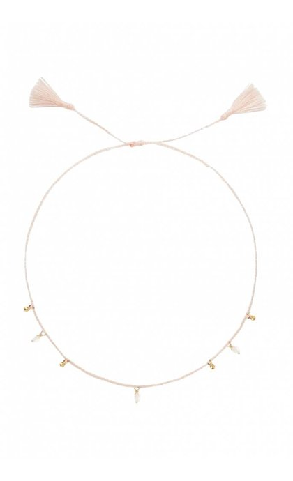 Anna + Nina Pearl Dot Thread Anklet Brass Dusty Pink
