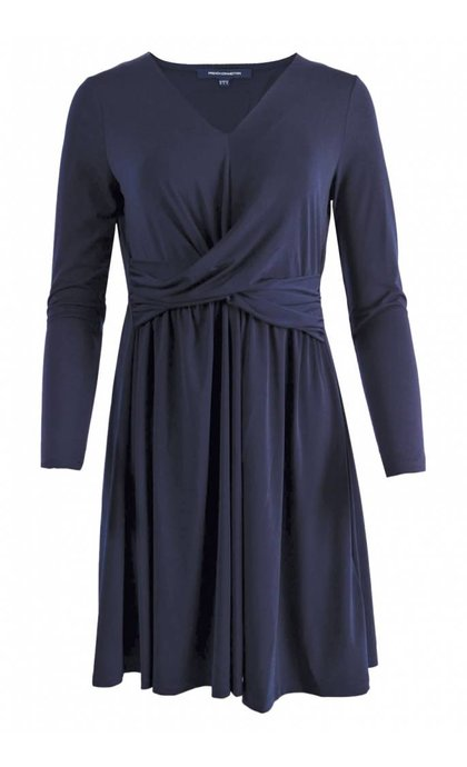 French Connection ALexia Crepe Jersey LS VNCK Dress Utility Blue