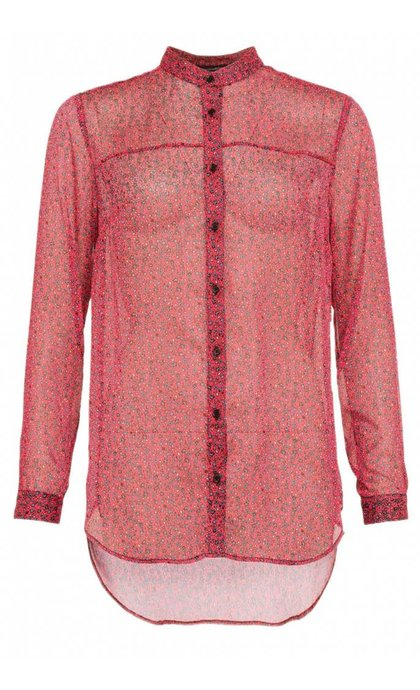 French Connection Aubine Crinkle Collars Shirt Mischief Pink Multi