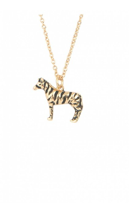 All the Luck in the World Souvenir Necklace Zebra Goldplated