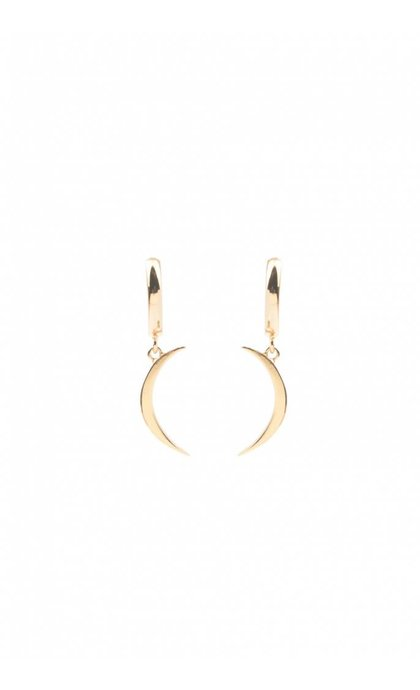 All the Luck in the World Souvenir Earrings Long Moon Goldplated