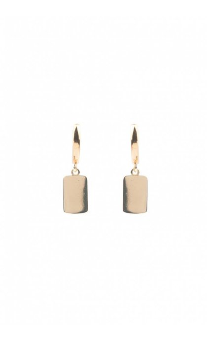 All the Luck in the World Souvenir Earrings Rectangle Goldplated