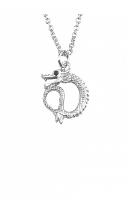 All the Luck in the World East Necklace Small Dragon Silver