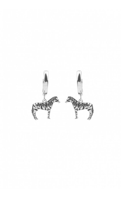 All the Luck in the World Souvenir Earrings Zebra Silver