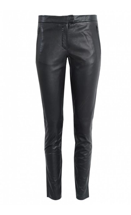 Second Female Robina Cropped Leather Trousers Black