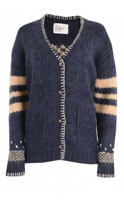 Leon and Harper Lumiere Long Cardigan Jacquard Navy