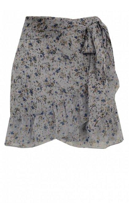 Neo Noir Bella Printed Skirt Vintage Blue