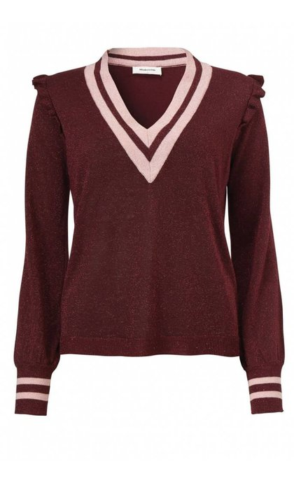 Modstrom Junior V-Neck Dark Cherry/Rose