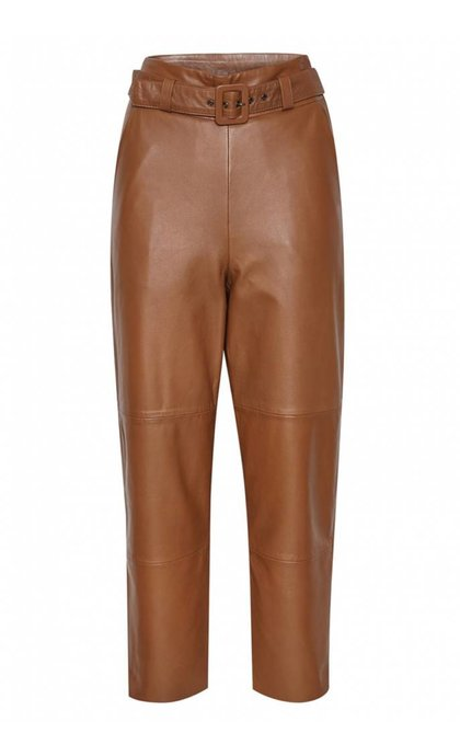 Gestuz Storia  Leather Pants Caramel Caf