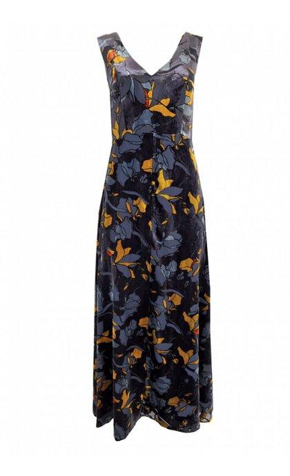 French Connection Aventine Velvet v-neck Maxi Dress Utility Blue Multi