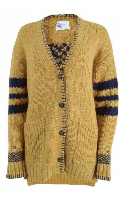 Leon and Harper Lumiere Long Cardigan Jacquard Yellow