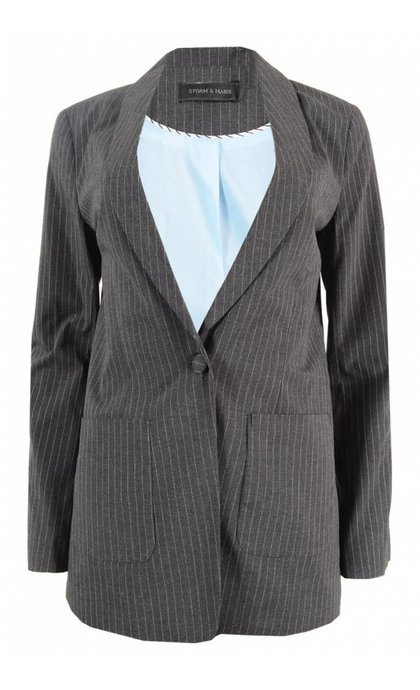 Storm & Marie Margot Jacket Grey Melange Pin Striped