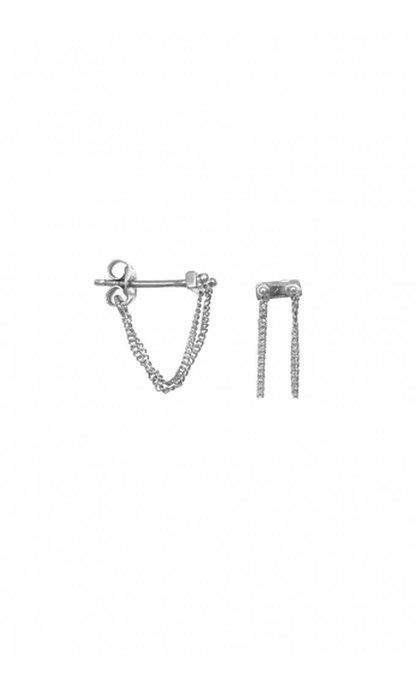 Anna + Nina Rivet Two Chain Earing Silver
