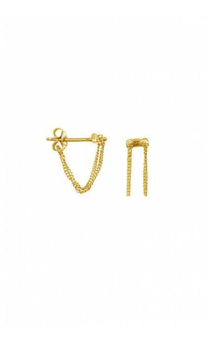 Anna + Nina Rivet two Chain Earring Goldplated