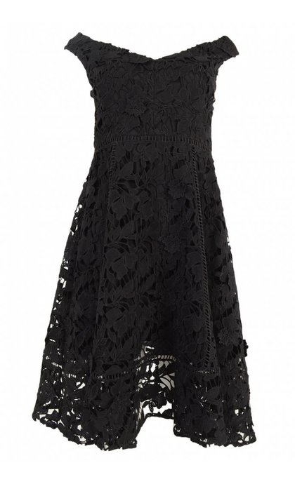 French Connection Blossom Lace Bardot Dress Black
