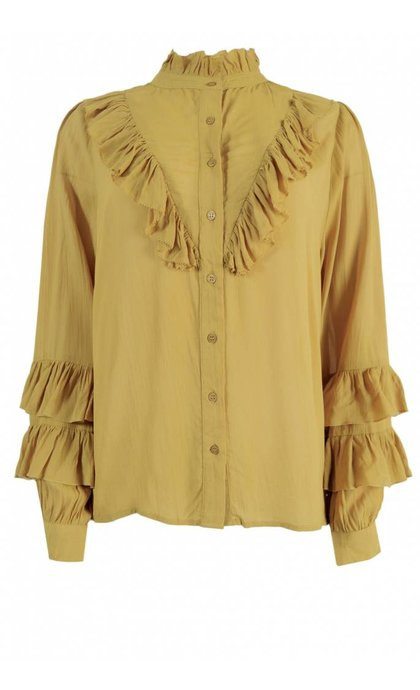 Alchemist Voile Ruffle Blouse Honey