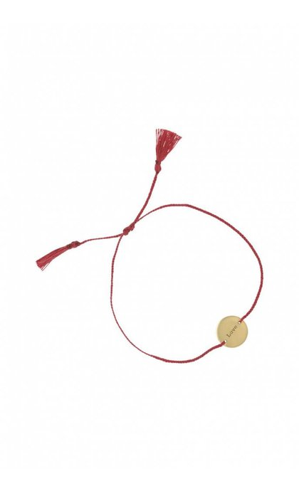 Anna + Nina Amy Coin Thread Bracelet Love Red