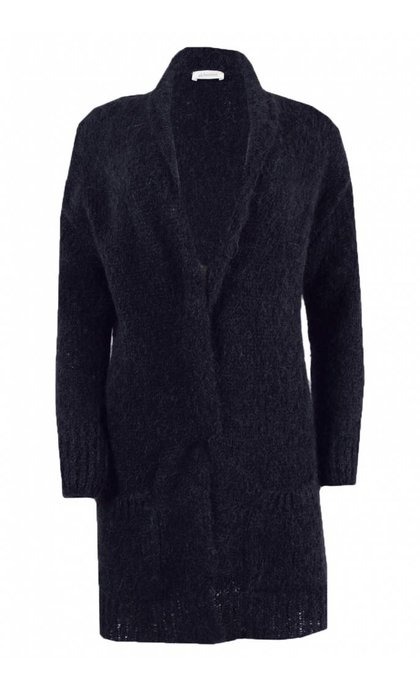 Alchemist Fluffy Mohair Long Cardigan Dark Blue