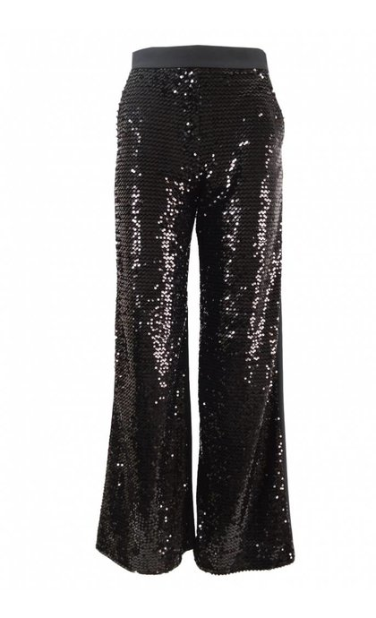 French Connection Alodia Sequin Flared Trousers Black