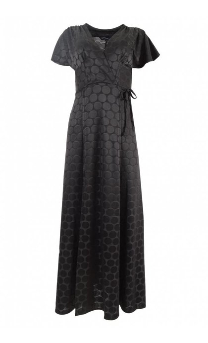 French Connection Kandi Polka Jaquard Wrap Maxi Black