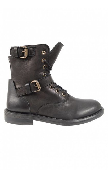 Catarina Martins Martina Leather Lace Boot With Two Buckles Black