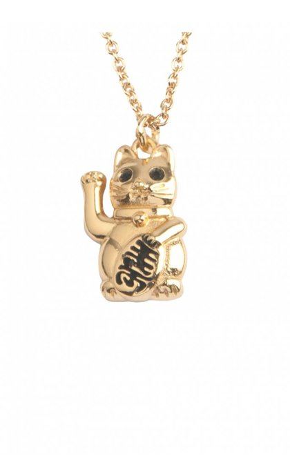 All the Luck in the World East Necklace Lucky Cat Goldplated