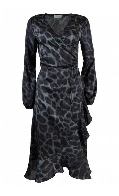 Neo Noir Riva Leo Dress Blue Leopard