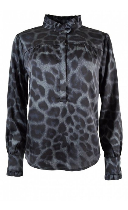 Neo Noir Viki Leo Shirt Blue Leopard