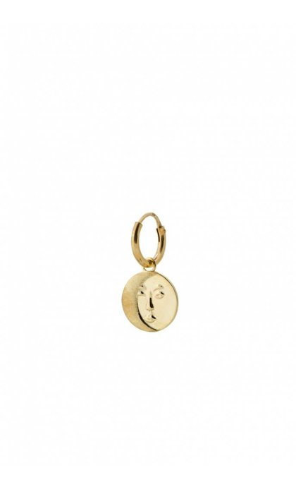 Anna + Nina Single Lunar Ring Earring Silver Goldplated