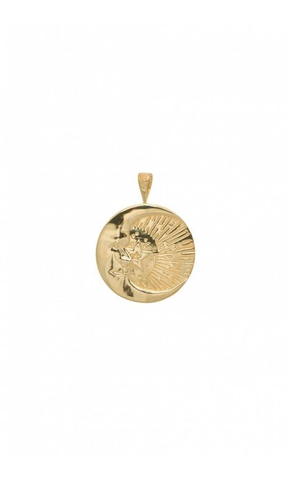 Anna + Nina Cosmic Necklace Charm Silver Goldplated