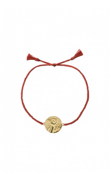 Anna + Nina Cosmic Thread Bracelet Chili Red Silver Golplated