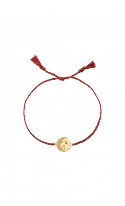 Anna + Nina Lunar Thread Bracelet Chili Red Silver Goldplated