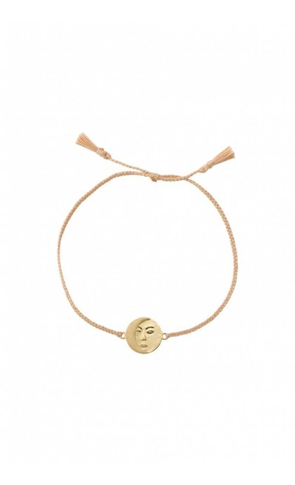 Anna + Nina Lunar Thread Bracelet Pale Silver Goldplated