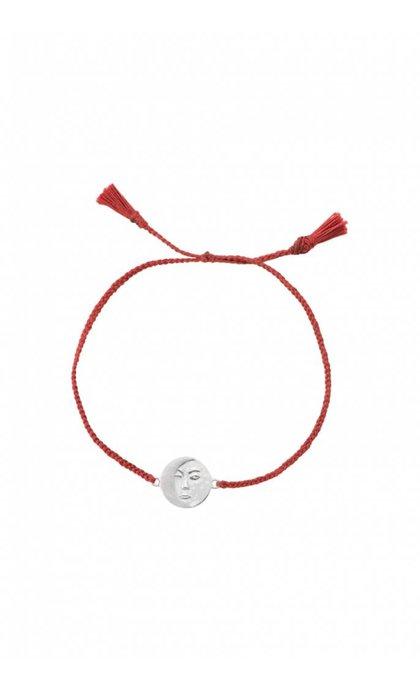 Anna + Nina Lunar Thread Bracelet Chili Red Silver
