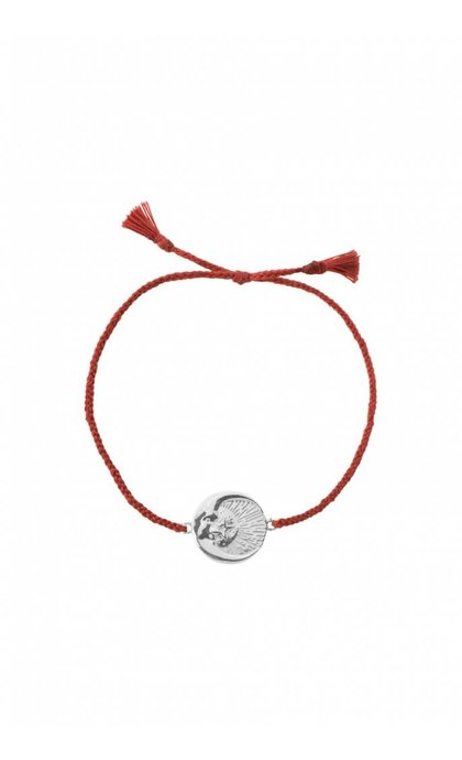 Anna + Nina Cosmic Thread Bracelet Chili Red Silver