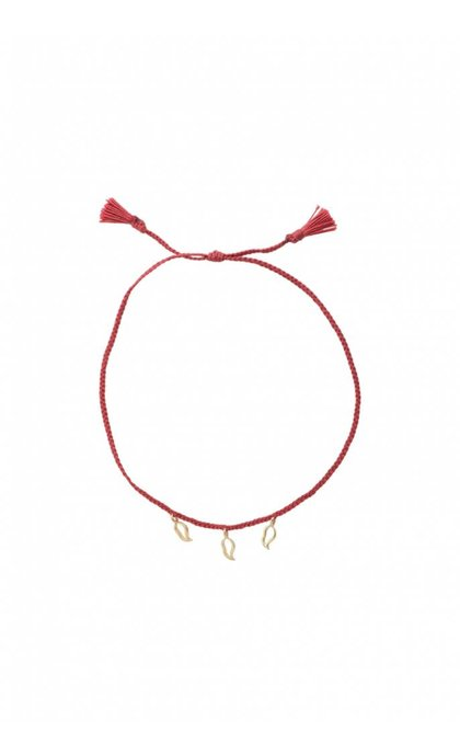Anna + Nina Multi flame Thread Silver Goldplated Chili Red