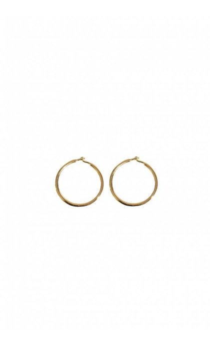 Fashionology Organic Sleeper Hoop Earrings Goldplated