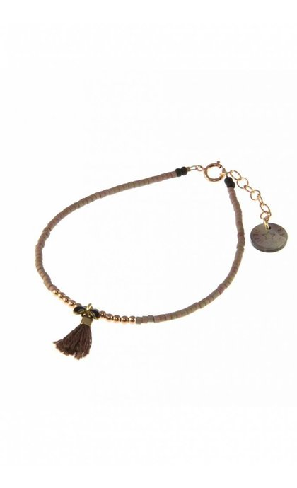 Blinckstar RGF Black Fishbone Burgundy Tassle Dark Taupe Matte Japanese Beads