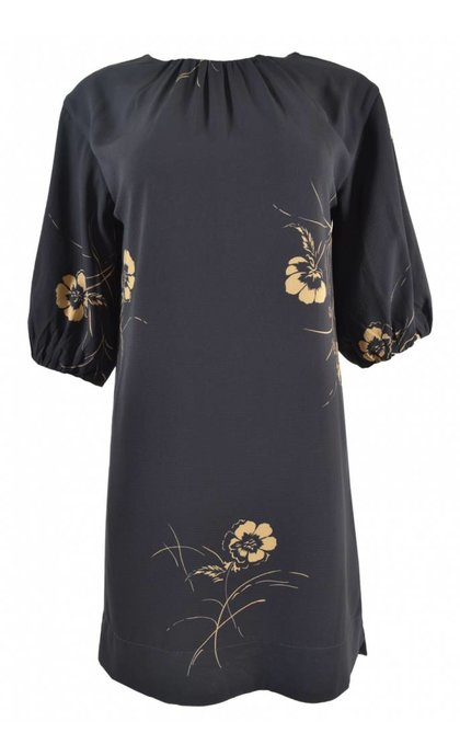 French Connection Mahi Crepe LS Tunic Dress Utility Blue/Gold