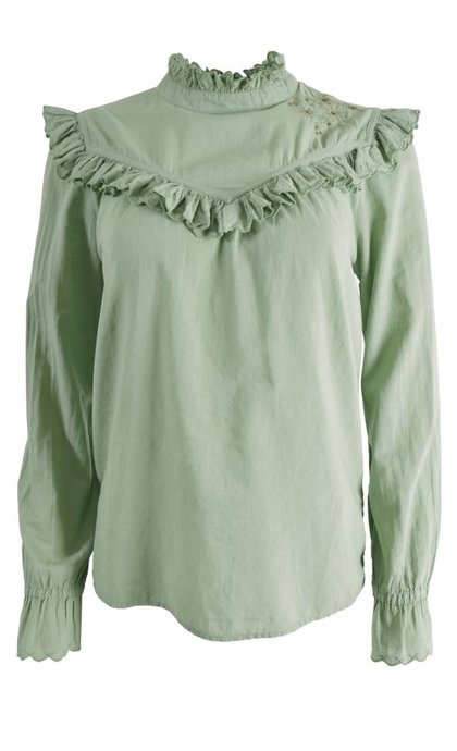 Leon and Harper Curl Blouse Brode Mint