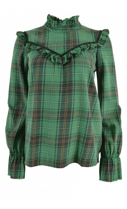 Leon and Harper Curl Blouse Check Green