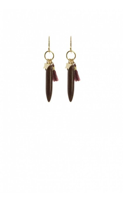 Blinckstar GF Hook Star Burgundy Tassle Dark Brown Stone Drop