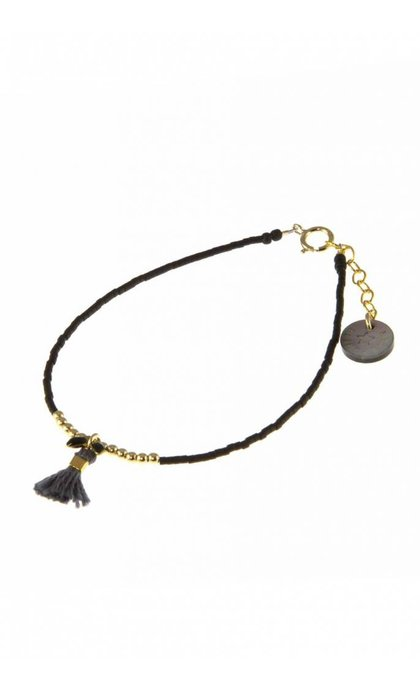Blinckstar GF Beads Grey Tassle Black Fishbone Matte Japanese Beads