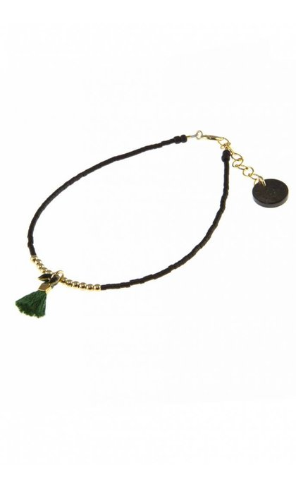 Blinckstar GF Beads Green Tassle Black Fishbone Matte Black Japanese Mini Beads