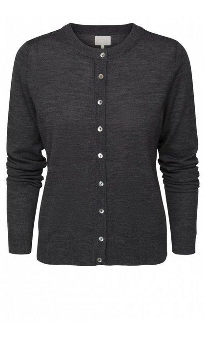Minus Rose Knit Cardigan Dark Gray Melange